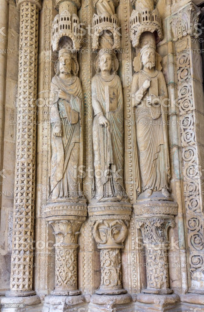 Ornate Door St-Etienne Cathedral Bourges France stock photo