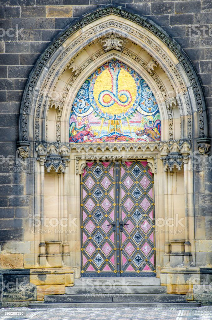 Ornate Door to  Basilica of St Peter and St Paul prague stock photo