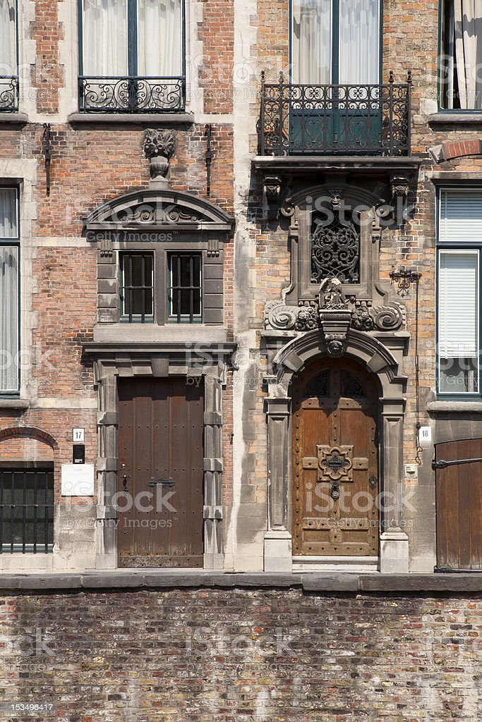 Ornate Doorways and Windows in Bruges, Belgium stock photo