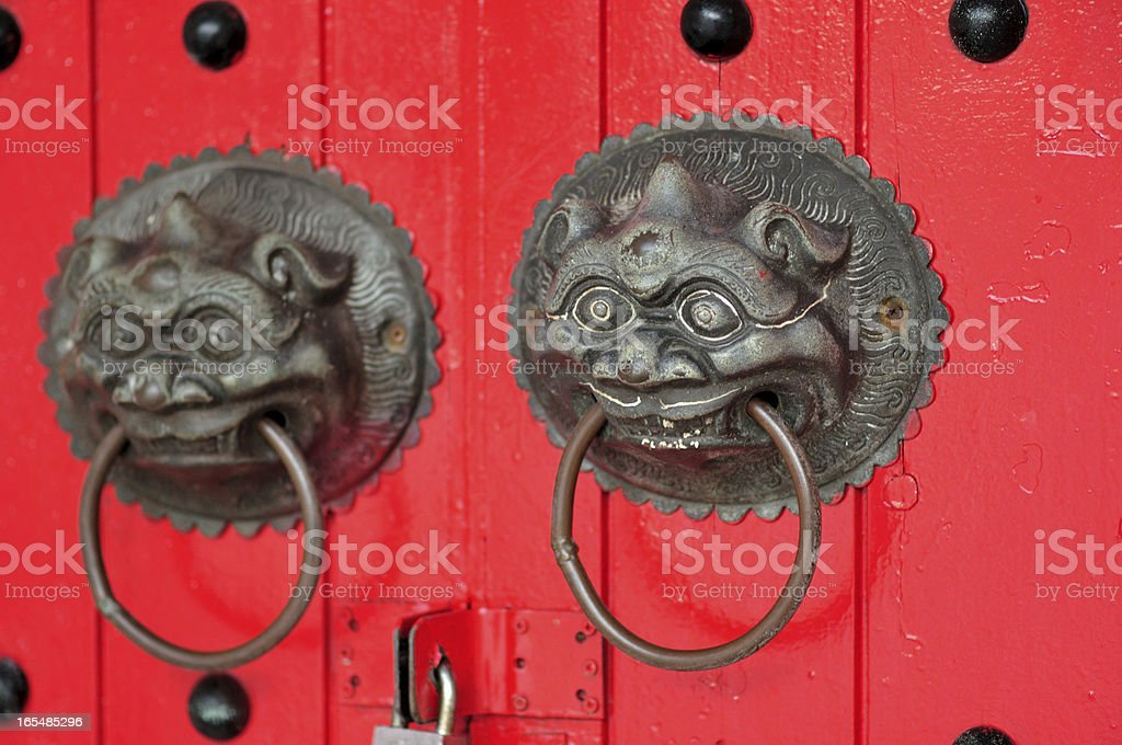 Ornate doorways to traditional chinese temple royalty-free stock photo