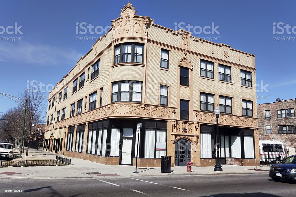 Ornate Edwardian Brick and Terra Cotta commercial building in Ch royalty-free stock photo