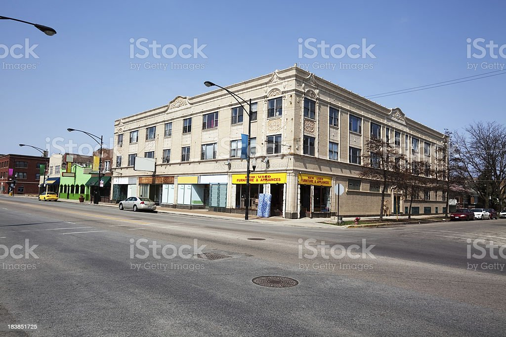 Ornate Edwardian Brick and Terra Cotta Shops in Chicago royalty-free stock photo