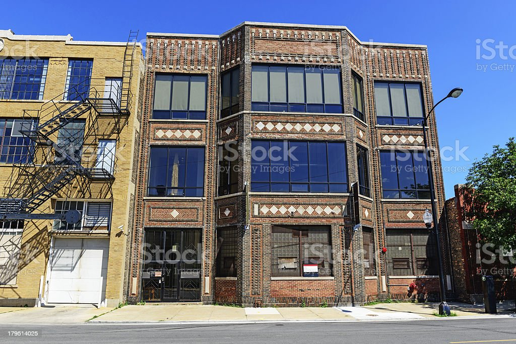 Ornate Edwardian industrial building, Near South Side, Chicago stock photo