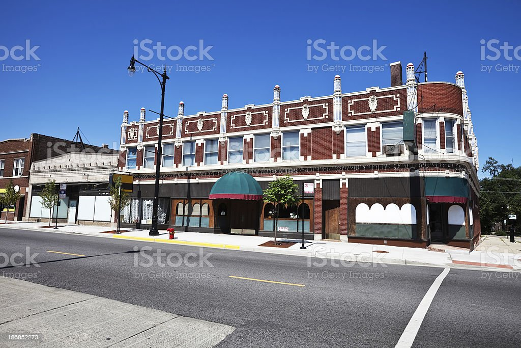 Ornate  Edwardian Neighborhood Shops in Portage Park, Chicago royalty-free stock photo