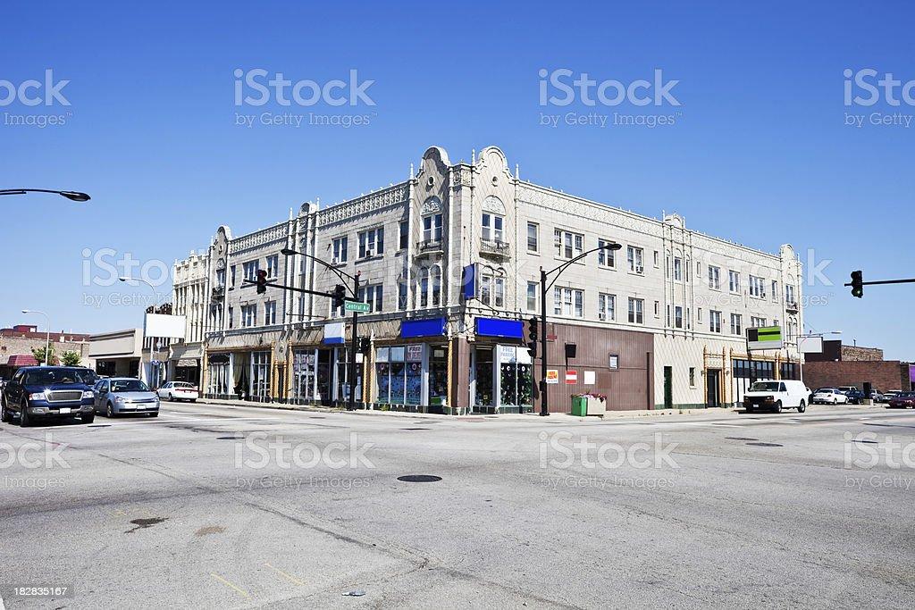Ornate Edwardian Shops in Clearing, Chicago royalty-free stock photo