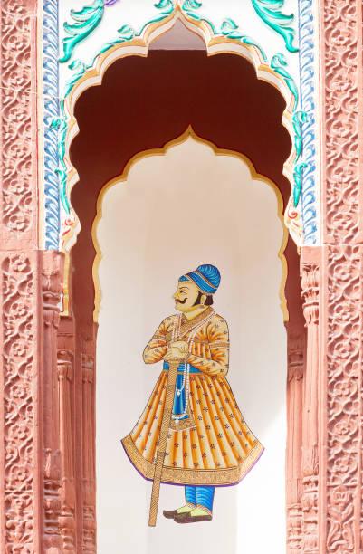 Ornate facade of Sri Madhavbihari Temple in Jajpur, Rajasthan, India stock photo