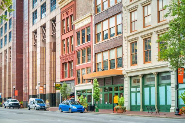 Ornate facades in downtown Louisville Kentucky USA stock photo