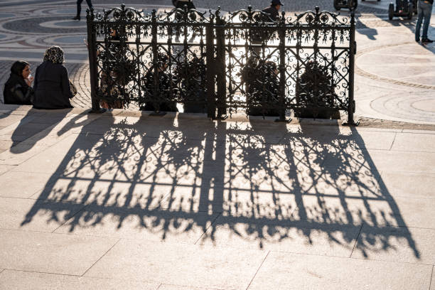 Ornate Gate by St. Stephen's Basilica in Budapest stock photo