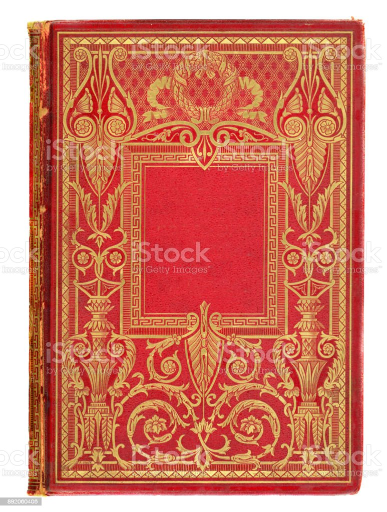Ornate Gold and Red Antique Victorian book cover stock photo