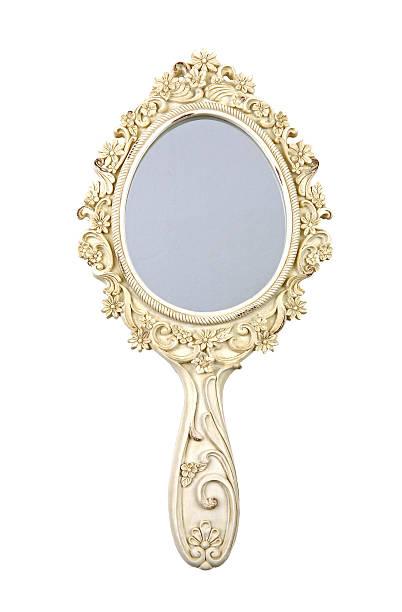 ornate gold hand mirror with flowers - handspiegel stockfoto's en -beelden