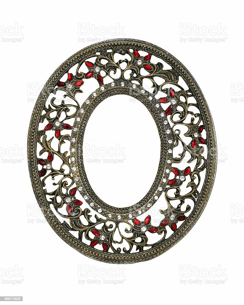 Ornate Gold Oval Frame royalty-free stock photo