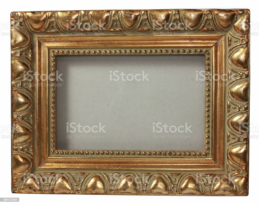 ornate gold  picture frame with clipping path stock photo