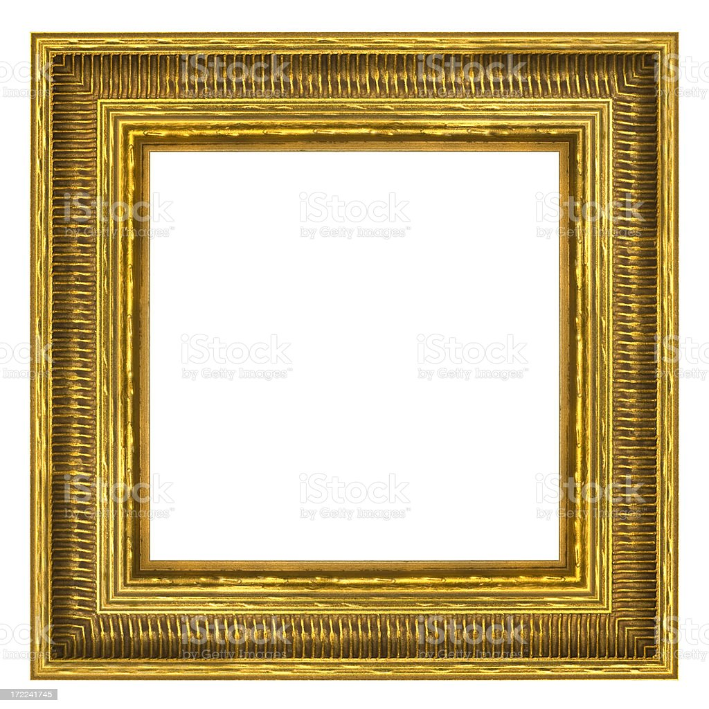 Ornate Gold Square Picture Frame. Isolated with Clipping Path royalty-free stock photo
