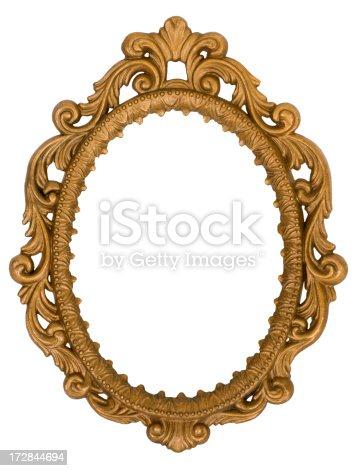 Ornate Golden Oval Mirror Frame Isolated On White