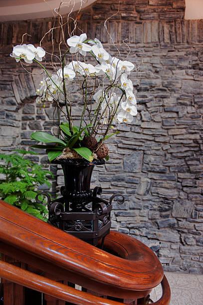 verzierte handlauf verfügt - wandleuchte treppenhaus stock-fotos und bilder