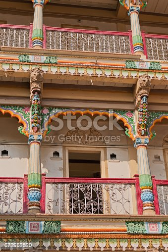 Architectural detail from a residential building for Hindu pilgrims in Gujarat