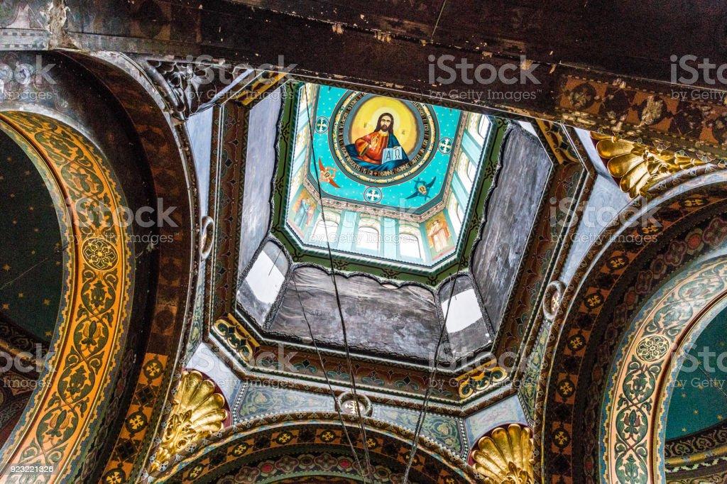 Ornate interior architecture of a Romanian orthodox church stock photo
