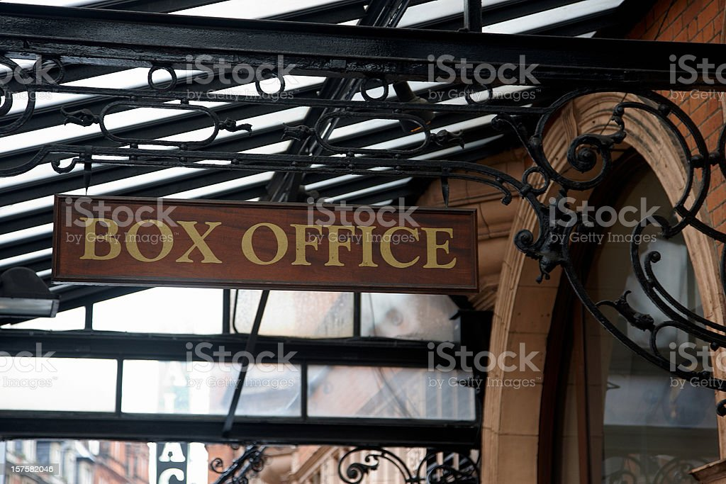 Ornate ironwork and old fashioned box office sign stock photo