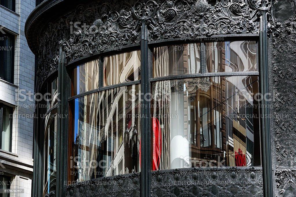 Ferronnerie emblématique de la fenêtre de magasin de Chicago - Photo