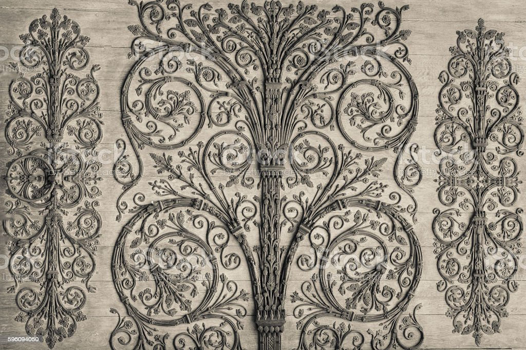 Ornate ironwork on front door of Notre Dame, Cathedral, Paris Lizenzfreies stock-foto