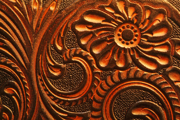 ornate leather surface - filigree stock photos and pictures