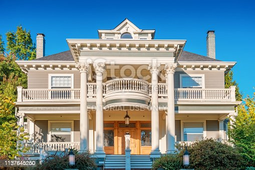 Ornate mansion in the Nob Hill area, Alphabet Historic District of Portland Oregon USA on a sunny morning