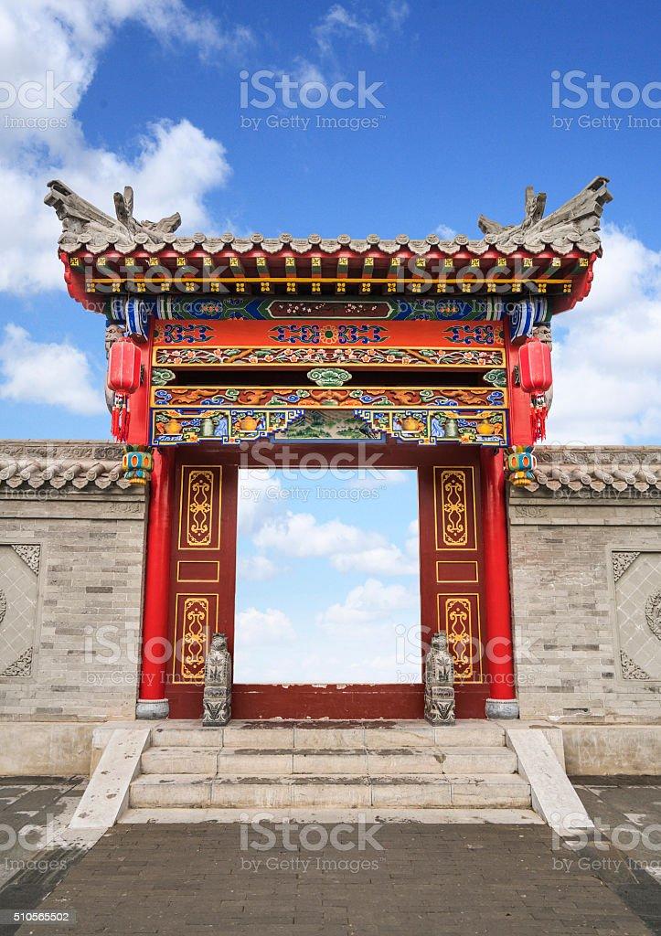 Ornate Narrow Passage in Forbidden City, Beijing stock photo