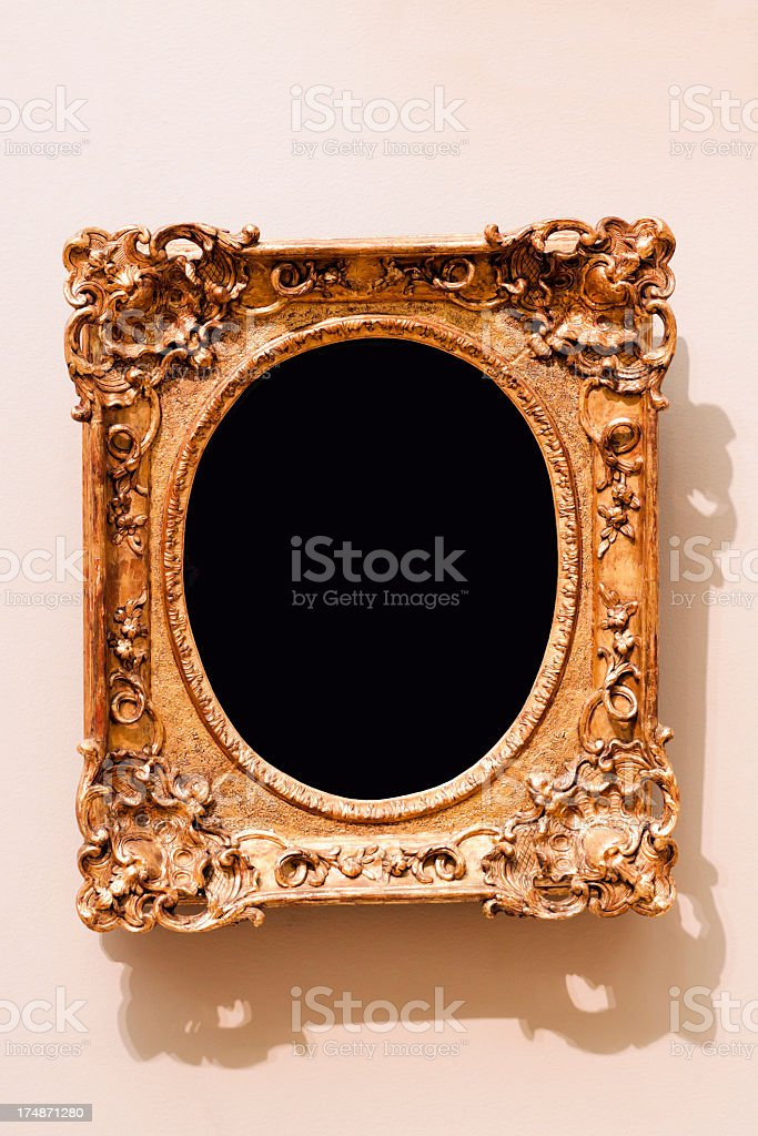 Ornate old  picture frame with black empty space, copy space royalty-free stock photo