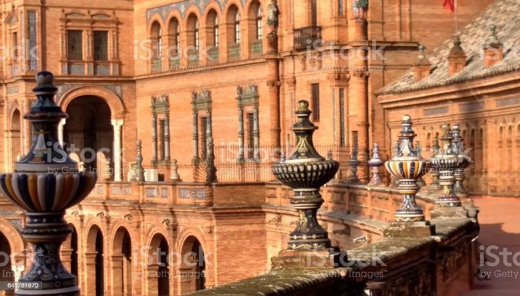 Ornate railing decorations Plaza de España Seville Spain stock photo