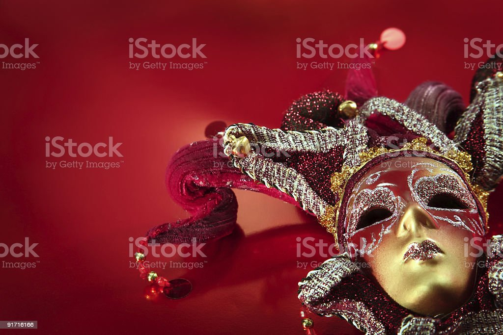 Ornate red carnival mask from Venice stock photo
