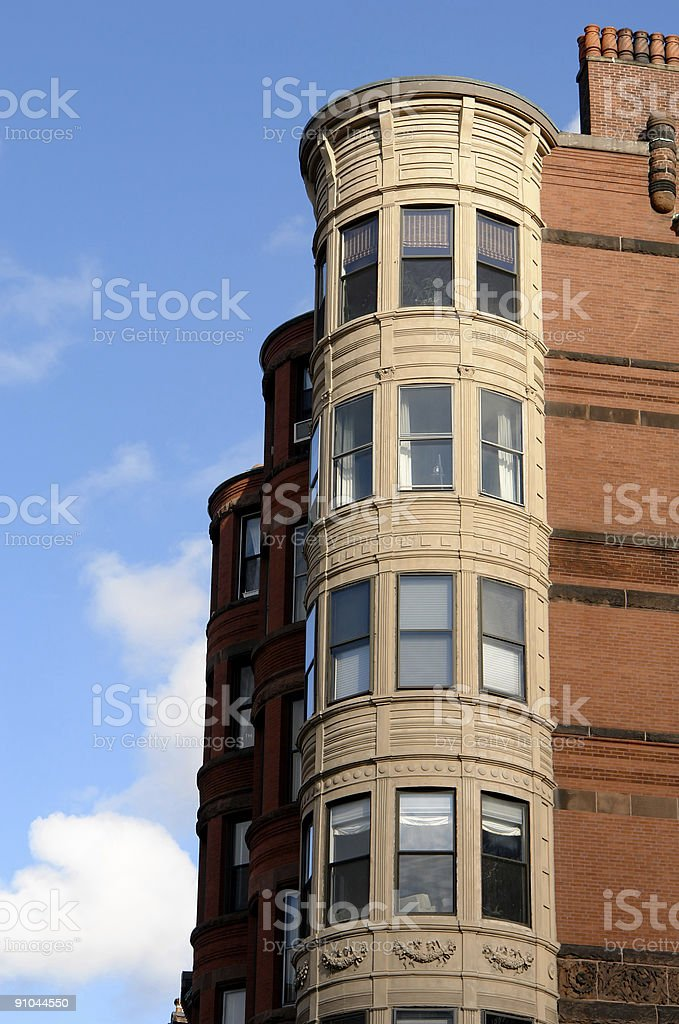 ornate rounded bay windows two royalty-free stock photo