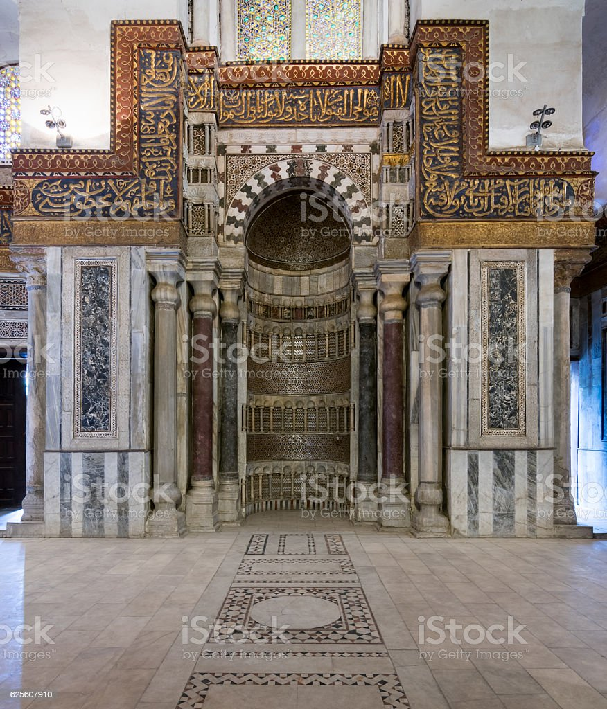 Ornate sculpted mihrab, mausoleum of Sultan Qalawun, Old Cairo, Egypt stock photo