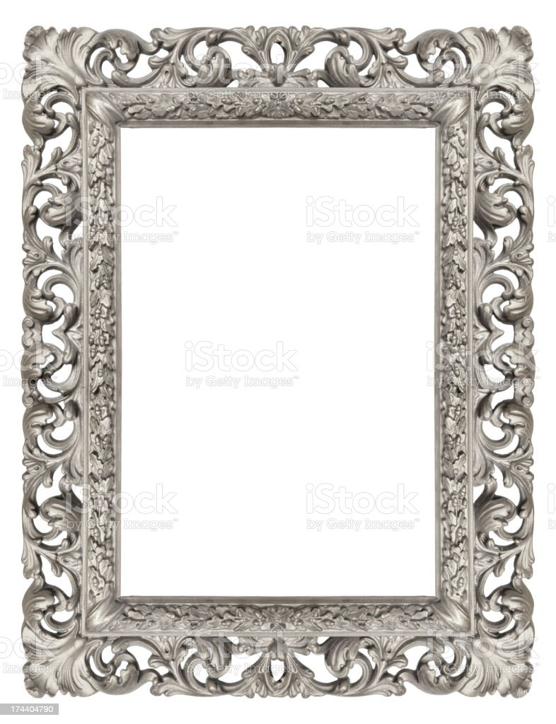 Ornate Silver Antique Picture Frame stock photo