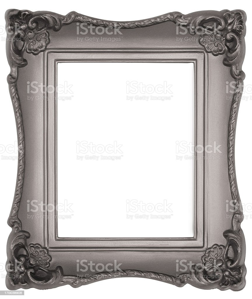 Ornate Silver or Pewter Picture Frame.  Isolated with Clipping Path royalty-free stock photo