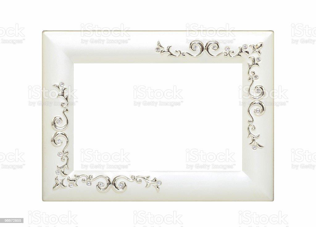 Ornate Silver Wedding Frame royalty-free stock photo