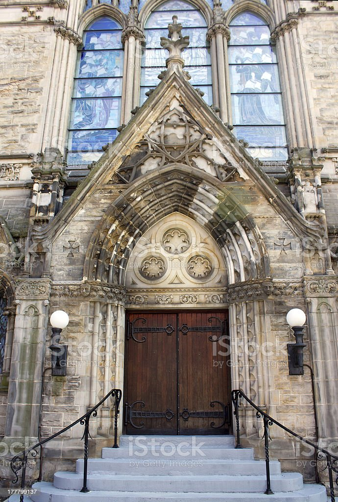 Ornate Stone Christian Church Entry stock photo