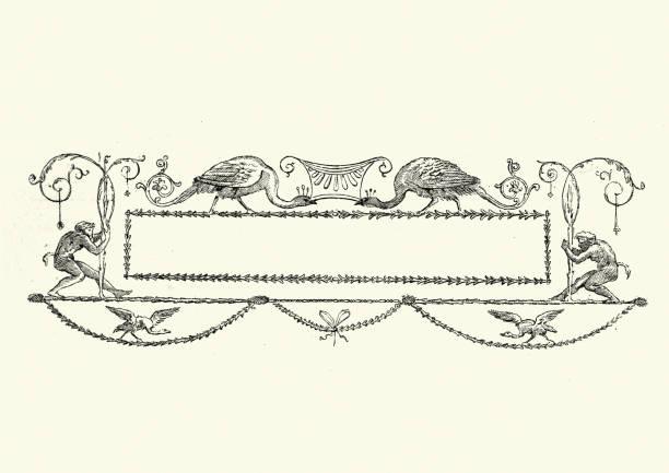 bannière de titre orné de paon victorienne, xixe siècle - objet gravé photos et images de collection