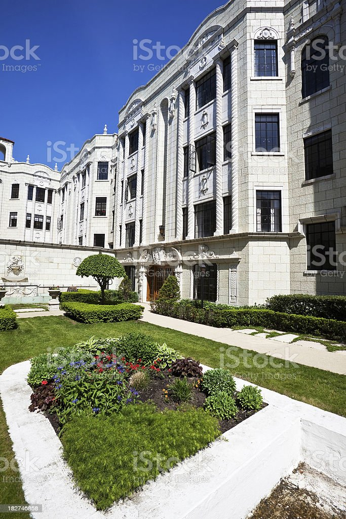 Ornate Vintage Apartment Building in Chicago royalty-free stock photo