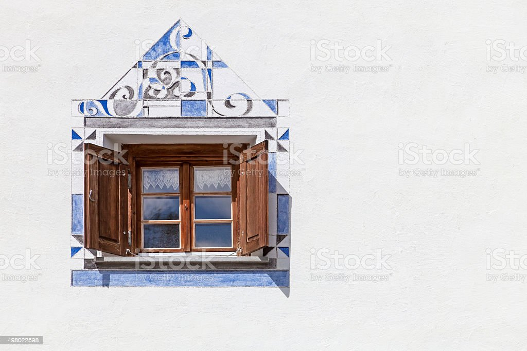 Ornate window stock photo