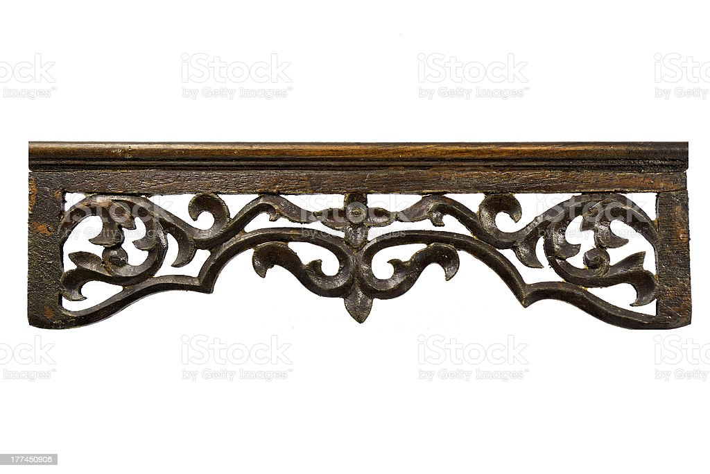Ornate Wood Carving Ornament on White Background royalty-free stock photo