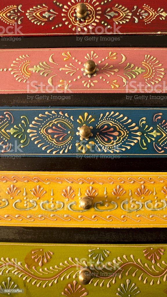 Ornate Wooden Box Closeup stock photo