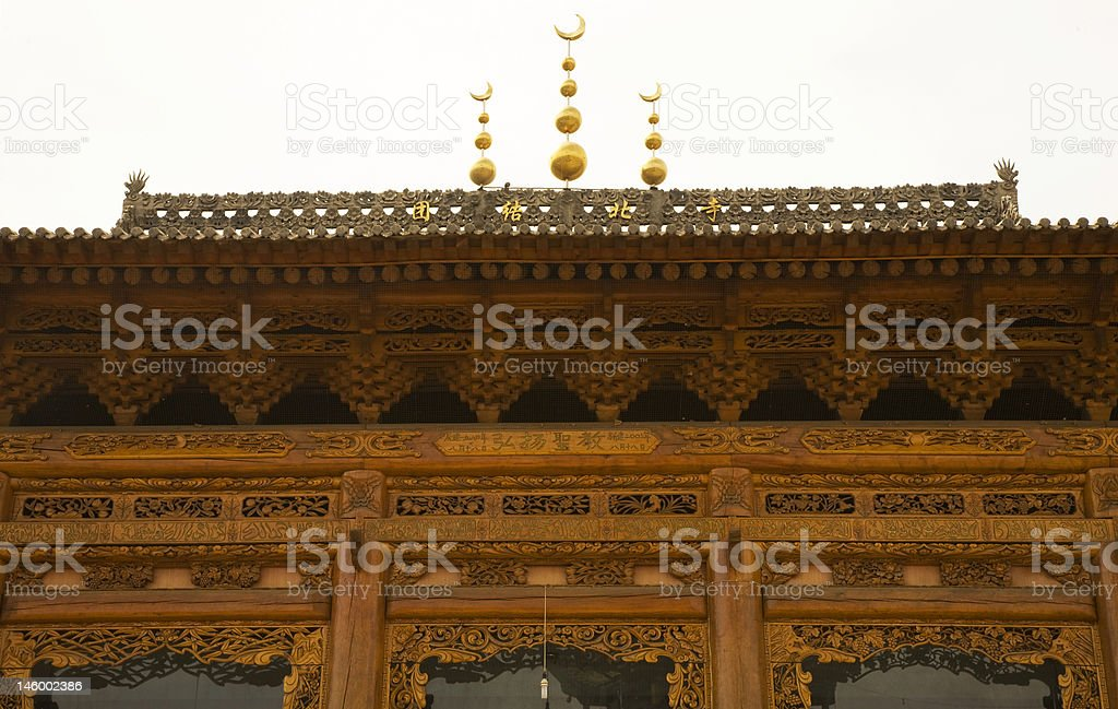 Ornate Wooden Mosque Close Up China royalty-free stock photo
