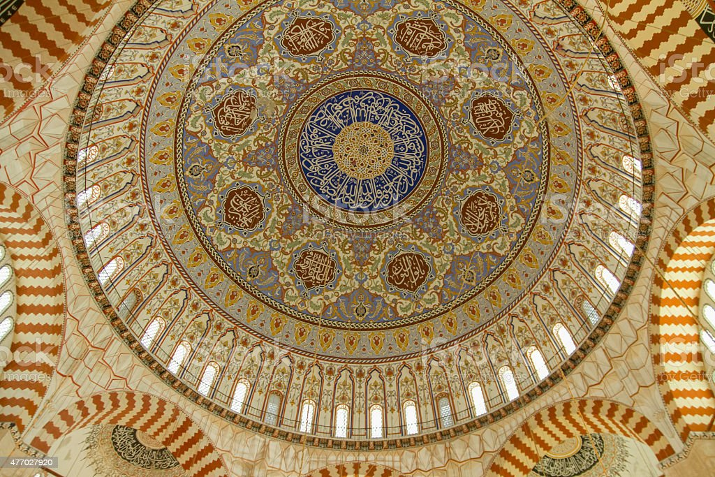 Ornated mosque dome of Selimiye Mosque stock photo