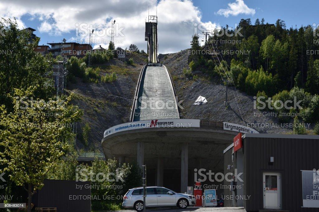 Ornskoldsvik, Sweden - Jun 28,2017: Ski jumping facility in the town Ornskoldsvik in the North of Sweden stock photo