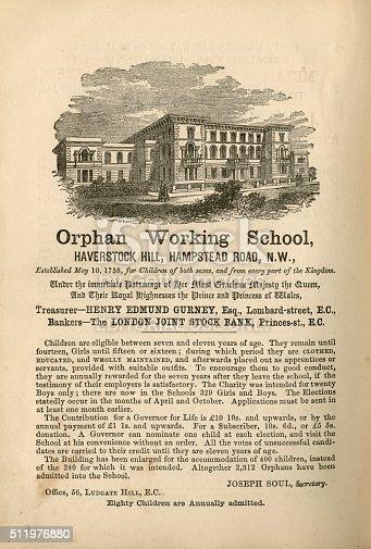 1070355804 istock photo Orphan Working School, Hampstead - advertisement, 1865 511976880