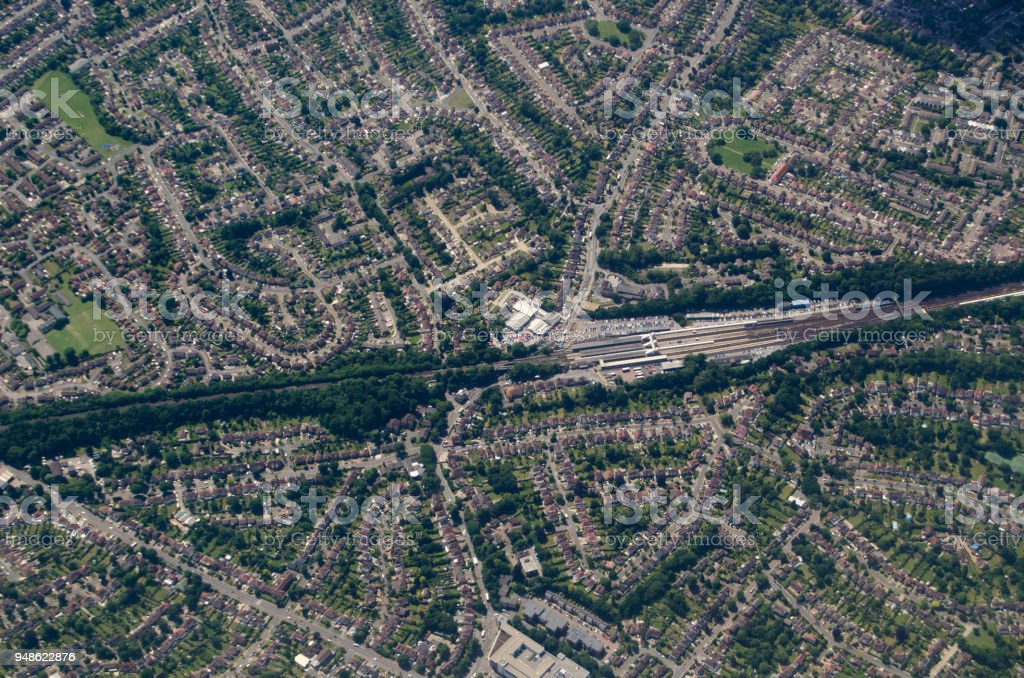 Orpington Railway Station, aerial view stock photo