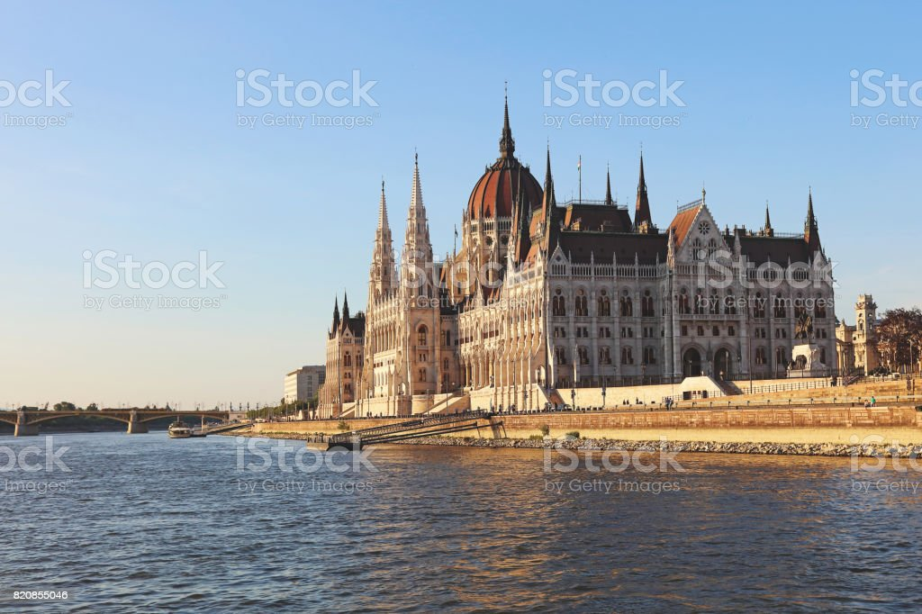 Orszaghaz Parliamentary building at day stock photo