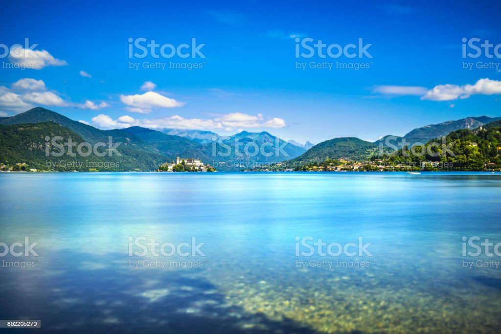 Orta Lake landscape. Orta San Giulio village and island Isola S.Giulio view, Italy stock photo