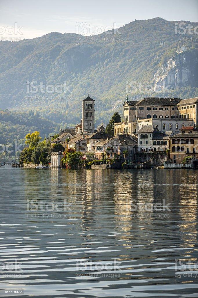 Orta San Giulio island stock photo