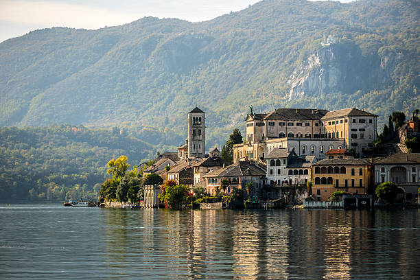 Orta San Giulio island stock photo
